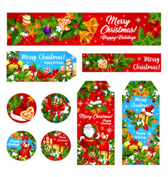 Christmas holiday wish greeting banner card vector