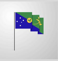 Christmas island waving flag creative background vector
