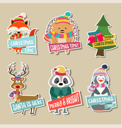christmas stickers collection vector image