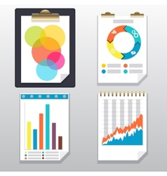 Clipboard charts and graphs on paper page vector image
