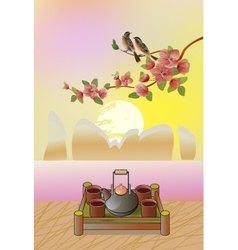 Coffee or tea on a table in the summer vector