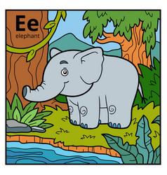 color alphabet for children letter e elephant vector image