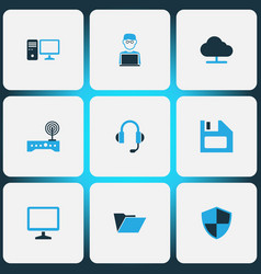 computer icons colored set with wifi pc shield vector image