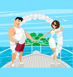 couples wedding cruise vector image