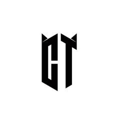 Ct logo monogram with shield shape designs vector