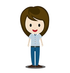 Cute cartoon of young people in stylish casual vector