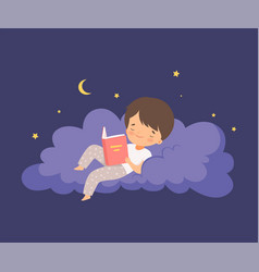 Cute little boy lying on a cloud at night sky and vector