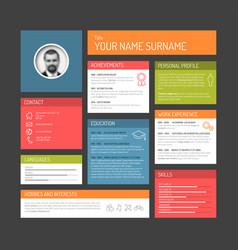 Cv resume template dashboard vector