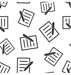 Document with pen icon seamless pattern vector