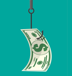 dollar on fishing hook money trap concept vector image