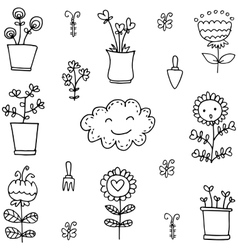 Doodle of flower set item vector