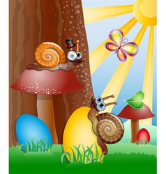 Easter picture with snails vector image vector image