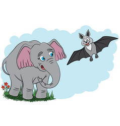 Elephant and bat vector