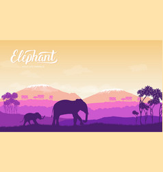 elephant with children is in the environment vector image