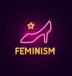 Feminism neon sign vector