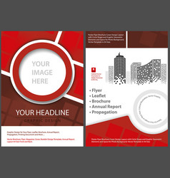 Flyer template front and back in red tones vector