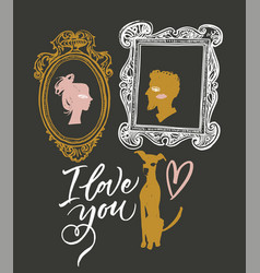 for valentines day lovers portraits vector image