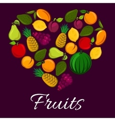 Fruits poster in heart shape vector