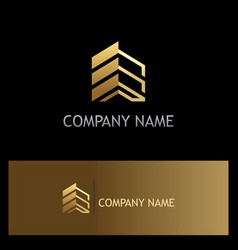 Golden building construction business logo vector