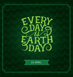 Happy earth day green leaf greeting card vector