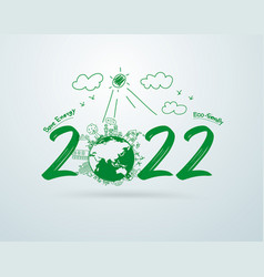 Happy new year 2022 creative drawing vector