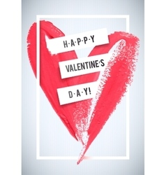 Happy valentine s day stroke heart and white vector