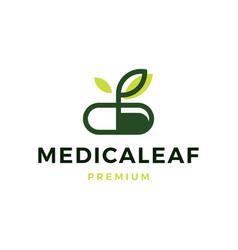 Herbal capsule pill leaf medicine logo icon vector
