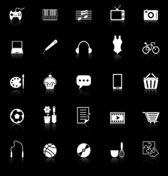 Hobby icons with reflect on black background vector