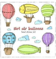 Hot Air Balloons set Vintage for vector image