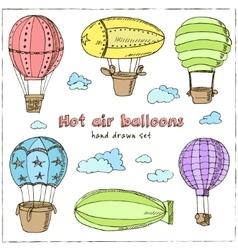 hot air balloons set vintage vector image