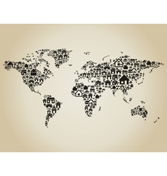 House world map vector image