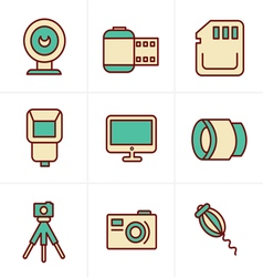 Icons Style Photography Icons Set Design vector image