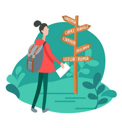 infographics with girl at signpost in minimalist vector image