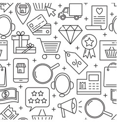 internet shopping seamless pattern in line style vector image