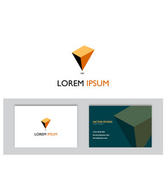 Inverted 3d pyramid logo with business card temp vector