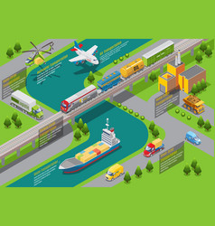 Isometric transportation infographic template vector