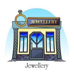 Jewellery store or jewelry shop with diamond ring vector