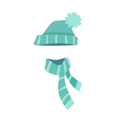 Knitted Modern Hat and Scarf with Stripes vector