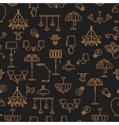 Lighting seamless pattern Lamp icon Brand vector image