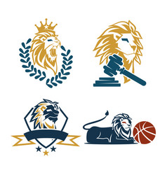 lion head shield basket hammer logo design symbol vector image