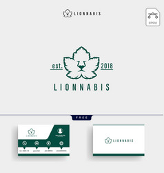 lion leaf nature logo template and business card vector image