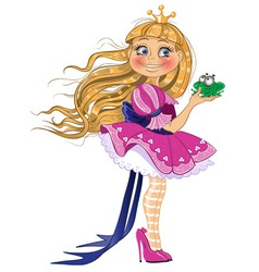 Little blond princess with frog vector