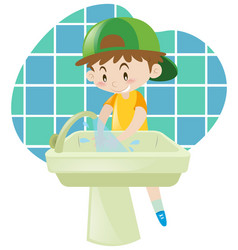 Little boy washing hands vector