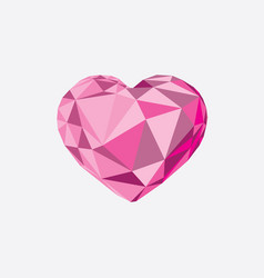 Low poly crystal bright pink heart vector