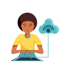 man black with laptop and cloud computing vector image