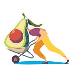 Man with avocado in cart concept vector