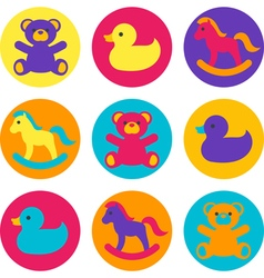 Multicolored childrens toys vector