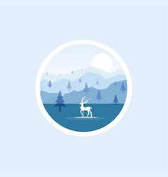 nature landscape forest deer vector image