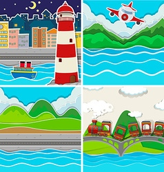 Nature scene in four places vector image