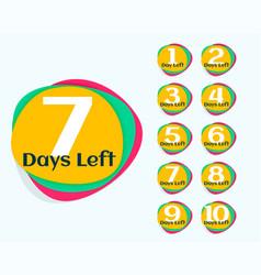 number of days left promotional banner or sticker vector image